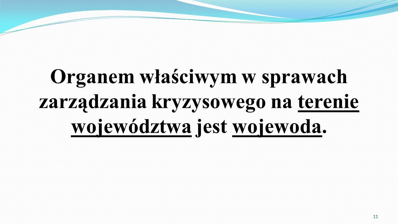 Organem właściwym w sprawach zarządzania kryzysowego na terenie województwa jest wojewoda. 11