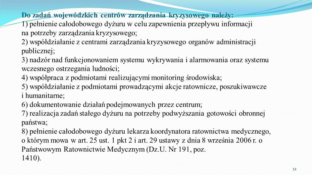 Do zadań wojewódzkich centrów zarządzania kryzysowego należy: 1) pełnienie całodobowego dyżuru w celu zapewnienia przepływu informacji na potrzeby zar
