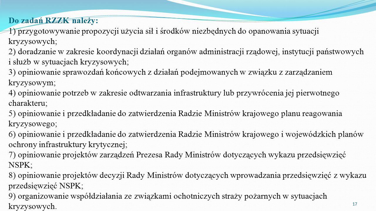 Do zadań RZZK należy: 1) przygotowywanie propozycji użycia sił i środków niezbędnych do opanowania sytuacji kryzysowych; 2) doradzanie w zakresie koor
