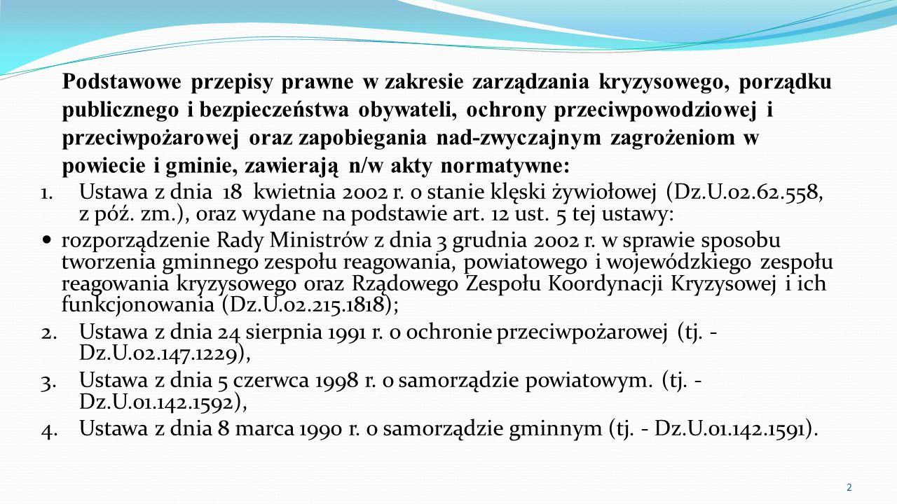 Podstawowe przepisy prawne w zakresie zarządzania kryzysowego, porządku publicznego i bezpieczeństwa obywateli, ochrony przeciwpowodziowej i przeciwpo