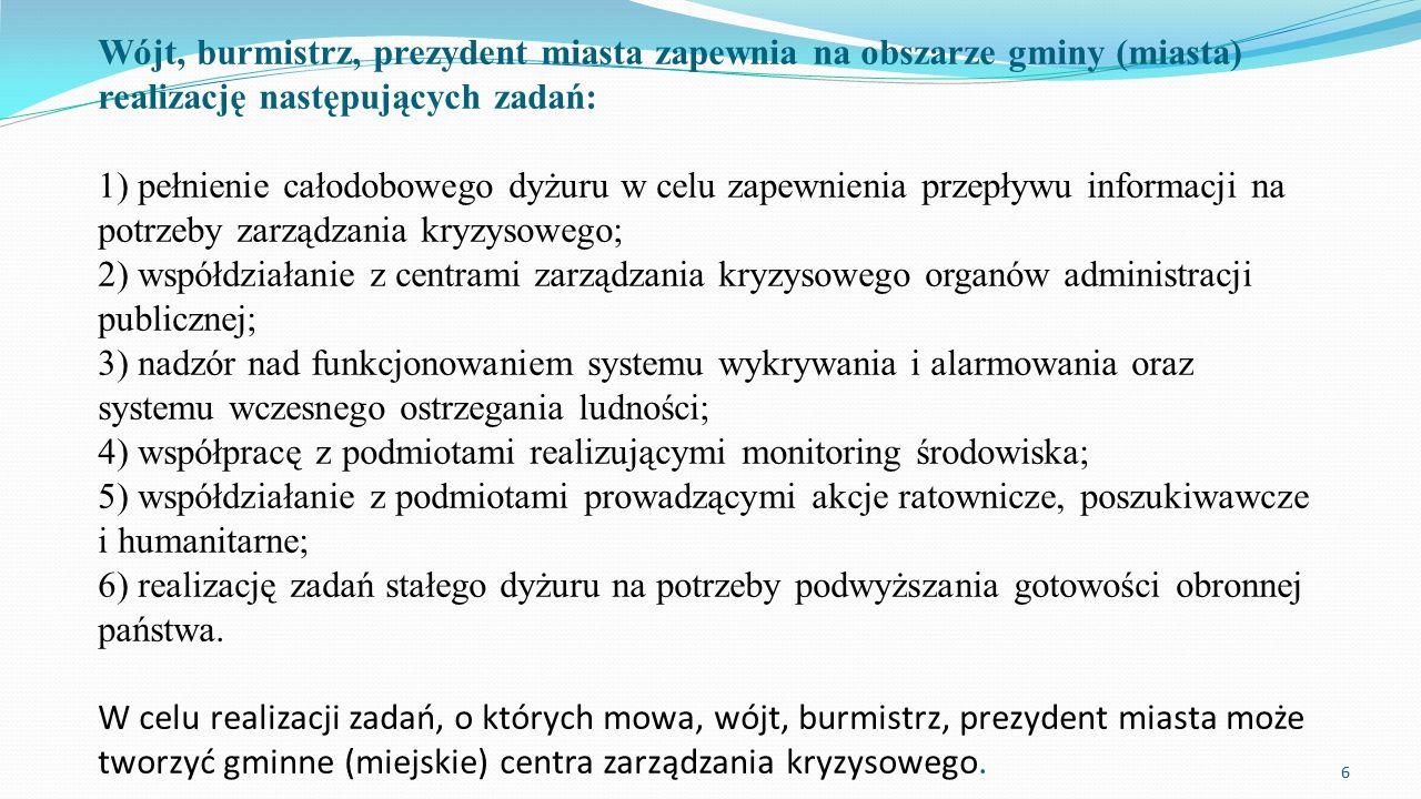 Wójt, burmistrz, prezydent miasta zapewnia na obszarze gminy (miasta) realizację następujących zadań: 1) pełnienie całodobowego dyżuru w celu zapewnie