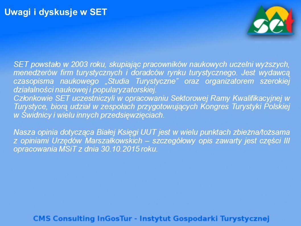Uwagi i dyskusje w SET SET powstało w 2003 roku, skupiając pracowników naukowych uczelni wyższych, menedżerów firm turystycznych i doradców rynku tury