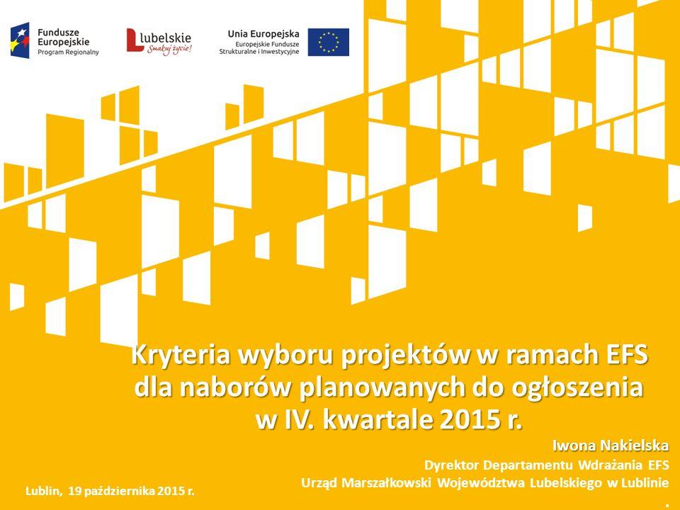 RPO WL 2014-2020 - EFS Oś priorytetowa: Działanie: Dofinansowanie ze środków publicznych (PLN): Rynek pracy (9) Rozwój przedsiębiorczości (9.3) 50 000 000 Godzenie życia zawodowego i prywatnego (9.4) 30 000 000 Włączenie społeczne (11) Usługi społeczne i zdrowotne (11.2) 20 000 000 Ekonomia społeczna (11.3) 20 000 000 Edukacja, kwalifikacje i kompetencje (12) Edukacja przedszkolna (12.1) 20 000 000