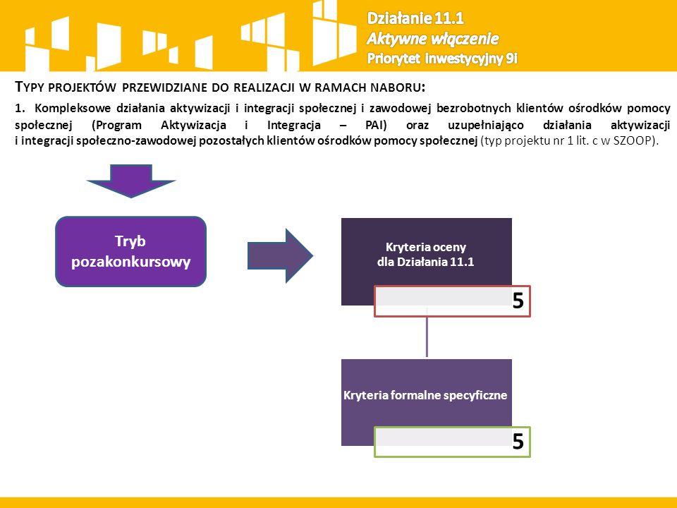 T YPY PROJEKTÓW PRZEWIDZIANE DO REALIZACJI W RAMACH NABORU : 1.Kompleksowe działania aktywizacji i integracji społecznej i zawodowej bezrobotnych klientów ośrodków pomocy społecznej (Program Aktywizacja i Integracja – PAI) oraz uzupełniająco działania aktywizacji i integracji społeczno-zawodowej pozostałych klientów ośrodków pomocy społecznej (typ projektu nr 1 lit.