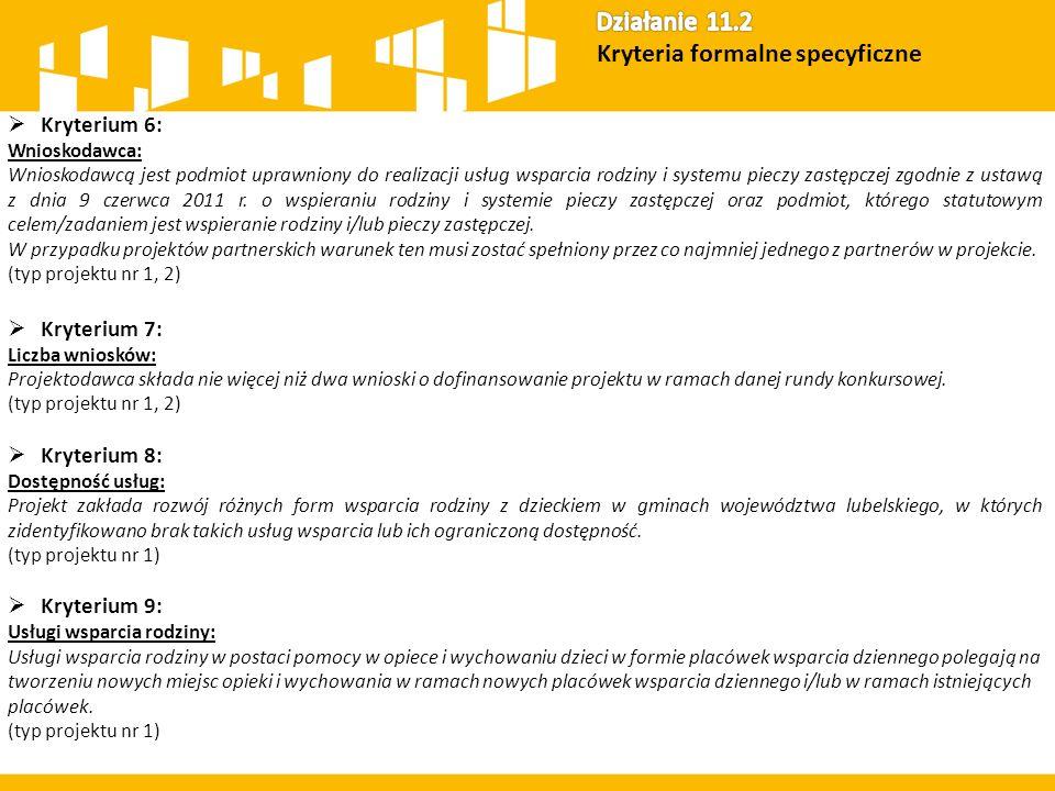  Kryterium 6: Wnioskodawca: Wnioskodawcą jest podmiot uprawniony do realizacji usług wsparcia rodziny i systemu pieczy zastępczej zgodnie z ustawą z dnia 9 czerwca 2011 r.