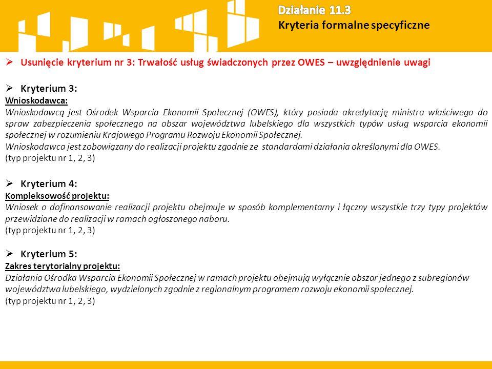  Usunięcie kryterium nr 3: Trwałość usług świadczonych przez OWES – uwzględnienie uwagi  Kryterium 3: Wnioskodawca: Wnioskodawcą jest Ośrodek Wsparcia Ekonomii Społecznej (OWES), który posiada akredytację ministra właściwego do spraw zabezpieczenia społecznego na obszar województwa lubelskiego dla wszystkich typów usług wsparcia ekonomii społecznej w rozumieniu Krajowego Programu Rozwoju Ekonomii Społecznej.