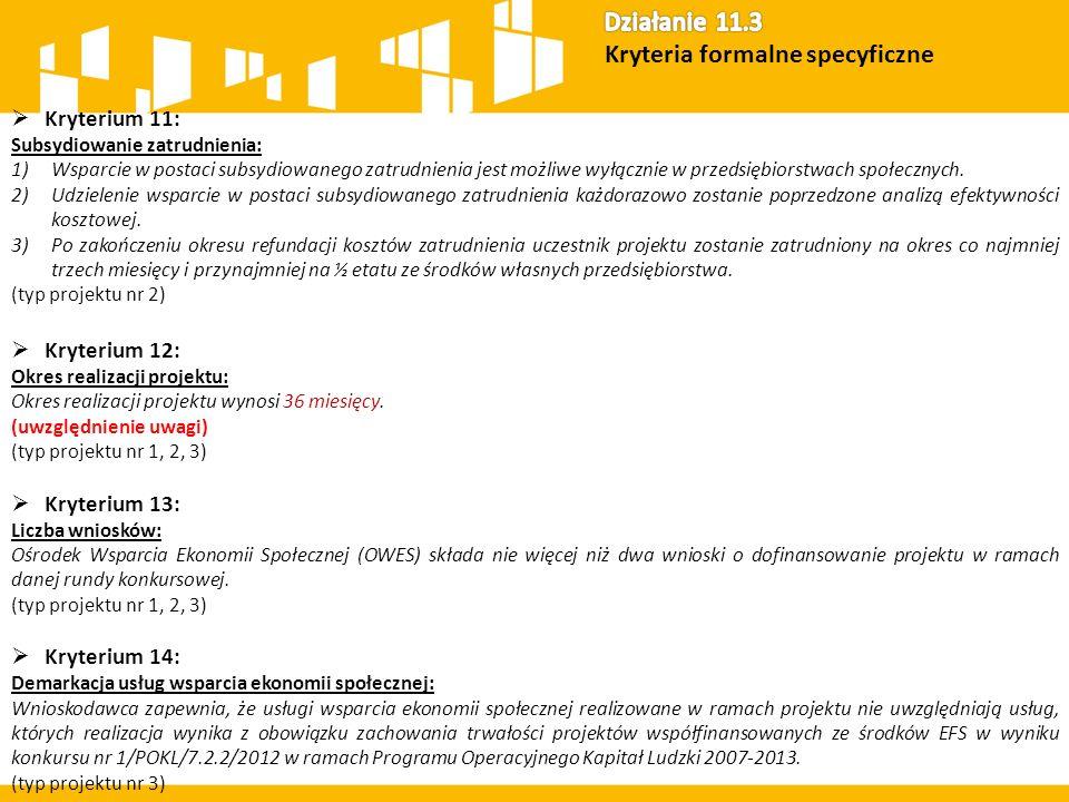 Kryterium 11: Subsydiowanie zatrudnienia: 1)Wsparcie w postaci subsydiowanego zatrudnienia jest możliwe wyłącznie w przedsiębiorstwach społecznych.