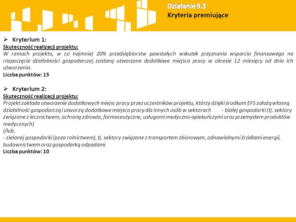  Kryterium 8: Tworzenie nowych podmiotów ekonomii społecznej: Wsparcie tworzenia nowych podmiotów ekonomii społecznej w ramach projektu dotyczy wyłącznie: tworzenia nowych przedsiębiorstw społecznych i/lub tworzenia podmiotów reintegracyjnych.