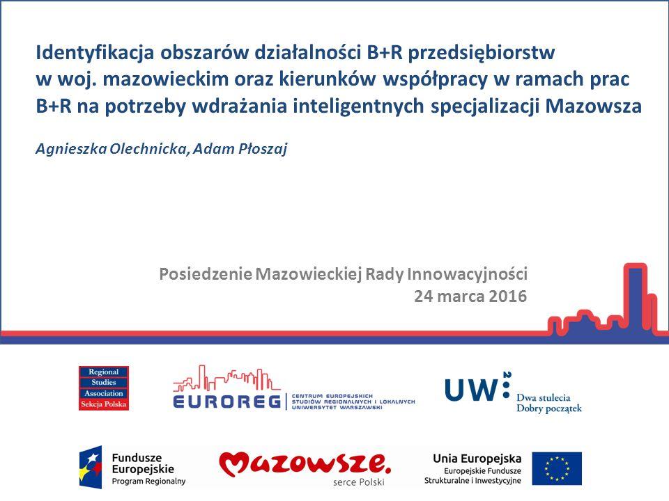 Cel badania Identyfikacja obszarów działalności badawczo-rozwojowej (B+R) przedsiębiorstw funkcjonujących na Mazowszu oraz kierunków współpracy w tym zakresie