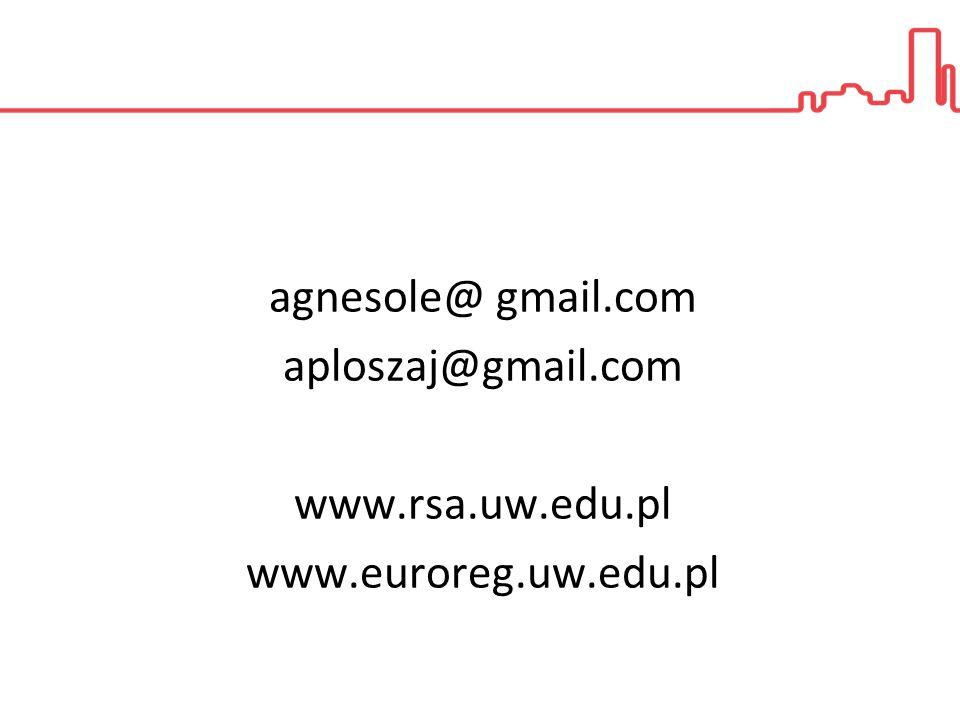agnesole@ gmail.com aploszaj@gmail.com www.rsa.uw.edu.pl www.euroreg.uw.edu.pl