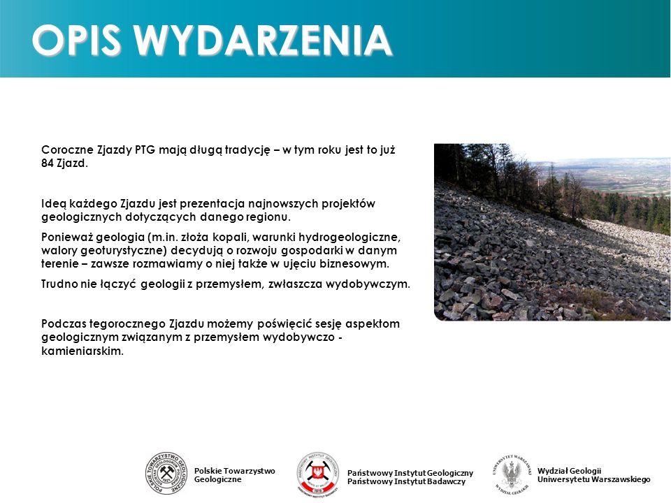 Państwowy Instytut Geologiczny Państwowy Instytut Badawczy Polskie Towarzystwo Geologiczne Wydział Geologii Uniwersytetu Warszawskiego Coroczne Zjazdy PTG mają długą tradycję – w tym roku jest to już 84 Zjazd.