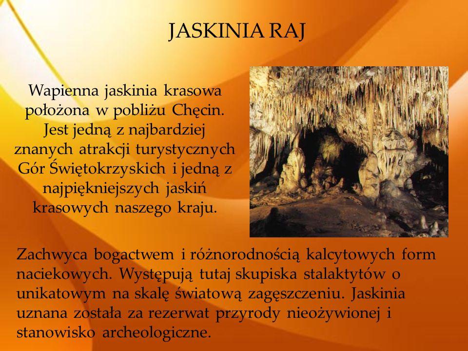 JASKINIA RAJ Wapienna jaskinia krasowa położona w pobliżu Chęcin. Jest jedną z najbardziej znanych atrakcji turystycznych Gór Świętokrzyskich i jedną