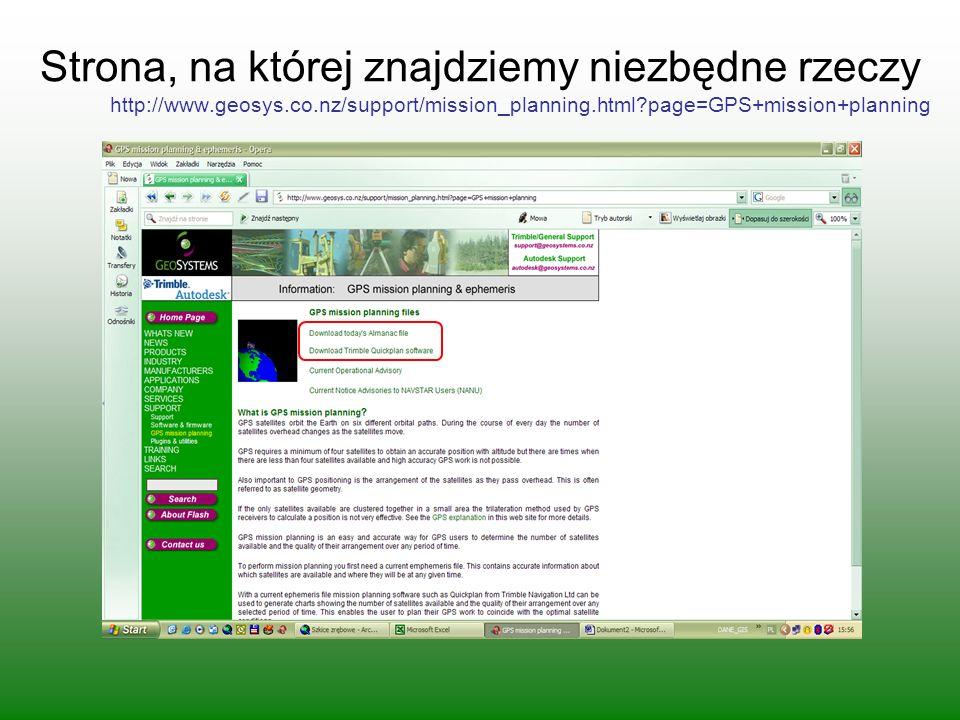 Strona, na której znajdziemy niezbędne rzeczy http://www.geosys.co.nz/support/mission_planning.html?page=GPS+mission+planning