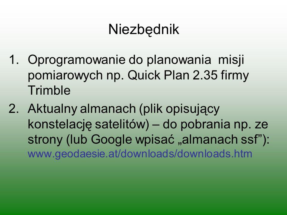 Niezbędnik 1.Oprogramowanie do planowania misji pomiarowych np.