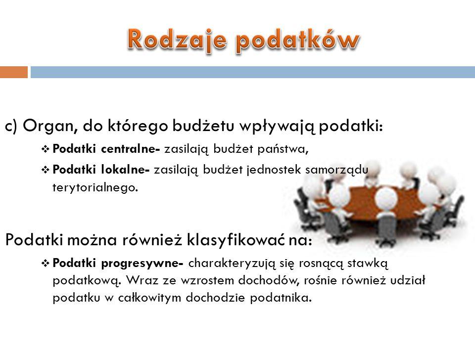 Przykładem tego typu podatków w Polsce jest podatek dochodowy od osób fizycznych PIT (podatek od dochodów osobistych):  Podatki proporcjonalne- o stałej stawce podatkowej.