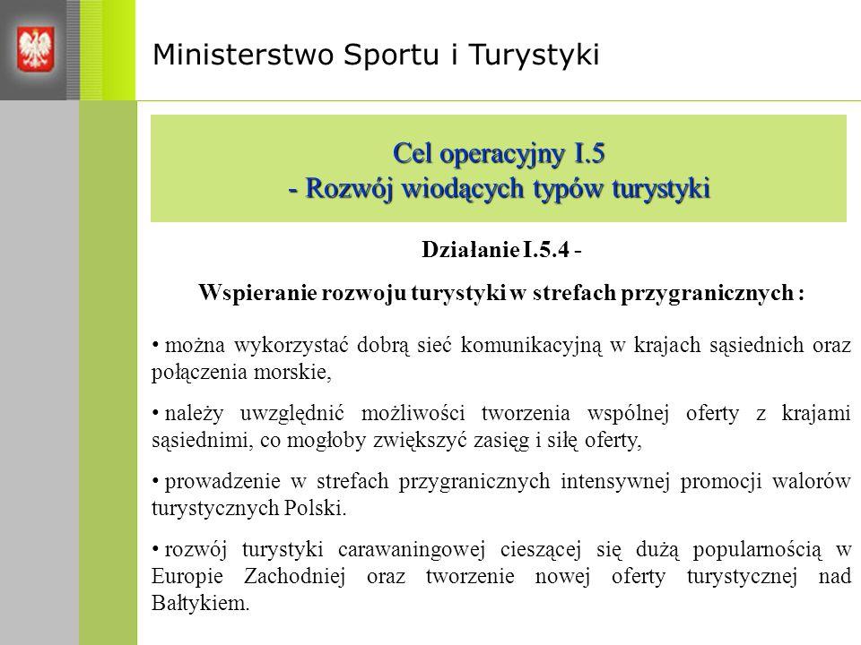 Ministerstwo Sportu i Turystyki Cel operacyjny I.5 - Rozwój wiodących typów turystyki Działanie I.5.4 - Wspieranie rozwoju turystyki w strefach przygranicznych : można wykorzystać dobrą sieć komunikacyjną w krajach sąsiednich oraz połączenia morskie, należy uwzględnić możliwości tworzenia wspólnej oferty z krajami sąsiednimi, co mogłoby zwiększyć zasięg i siłę oferty, prowadzenie w strefach przygranicznych intensywnej promocji walorów turystycznych Polski.