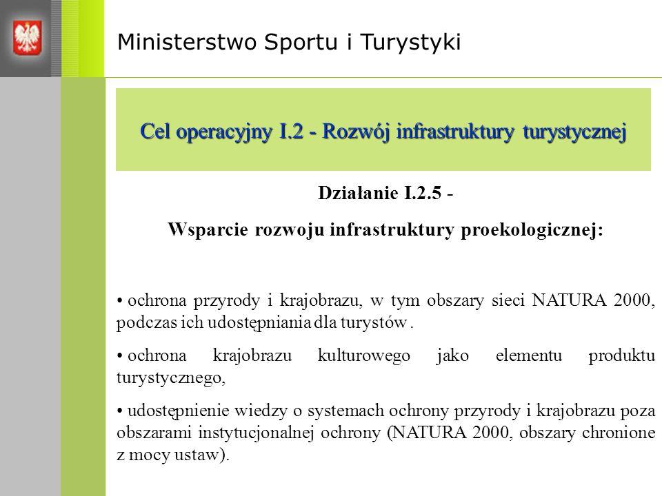 Ministerstwo Sportu i Turystyki Cel operacyjny I.2 - Rozwój infrastruktury turystycznej Działanie I.2.5 - Wsparcie rozwoju infrastruktury proekologicznej: ochrona przyrody i krajobrazu, w tym obszary sieci NATURA 2000, podczas ich udostępniania dla turystów.