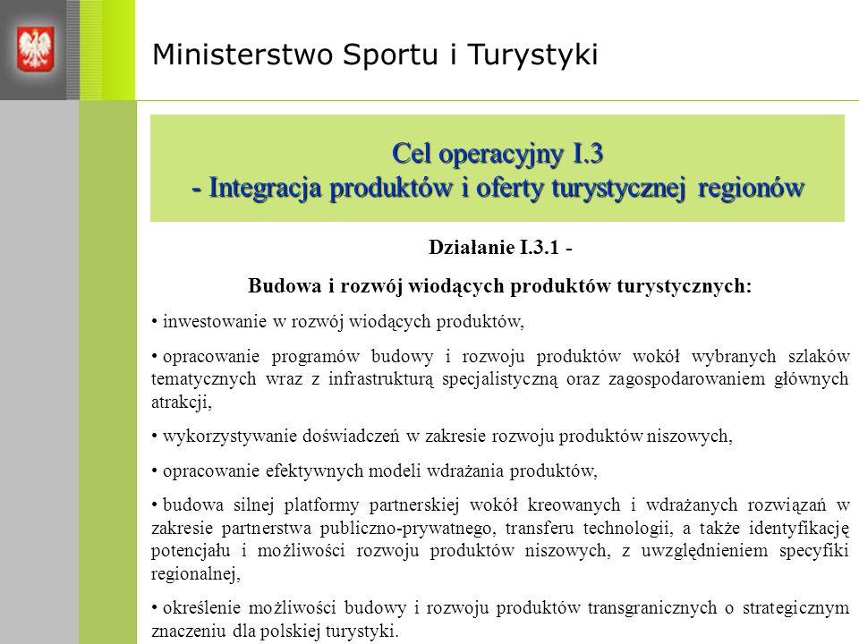 Ministerstwo Sportu i Turystyki Cel operacyjny I.3 - Integracja produktów i oferty turystycznej regionów Działanie I.3.1 - Budowa i rozwój wiodących produktów turystycznych: inwestowanie w rozwój wiodących produktów, opracowanie programów budowy i rozwoju produktów wokół wybranych szlaków tematycznych wraz z infrastrukturą specjalistyczną oraz zagospodarowaniem głównych atrakcji, wykorzystywanie doświadczeń w zakresie rozwoju produktów niszowych, opracowanie efektywnych modeli wdrażania produktów, budowa silnej platformy partnerskiej wokół kreowanych i wdrażanych rozwiązań w zakresie partnerstwa publiczno-prywatnego, transferu technologii, a także identyfikację potencjału i możliwości rozwoju produktów niszowych, z uwzględnieniem specyfiki regionalnej, określenie możliwości budowy i rozwoju produktów transgranicznych o strategicznym znaczeniu dla polskiej turystyki.