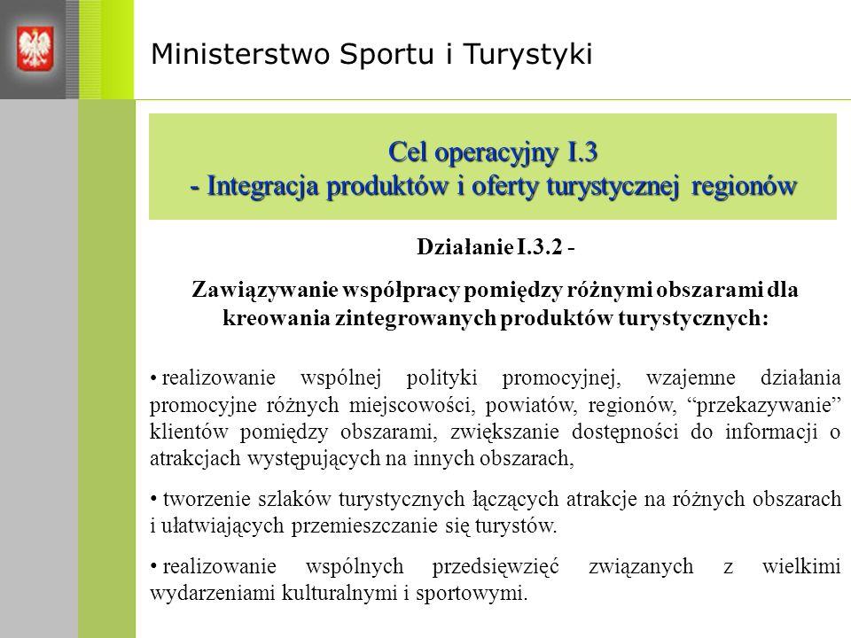 Ministerstwo Sportu i Turystyki Cel operacyjny I.3 - Integracja produktów i oferty turystycznej regionów Działanie I.3.2 - Zawiązywanie współpracy pomiędzy różnymi obszarami dla kreowania zintegrowanych produktów turystycznych: realizowanie wspólnej polityki promocyjnej, wzajemne działania promocyjne różnych miejscowości, powiatów, regionów, przekazywanie klientów pomiędzy obszarami, zwiększanie dostępności do informacji o atrakcjach występujących na innych obszarach, tworzenie szlaków turystycznych łączących atrakcje na różnych obszarach i ułatwiających przemieszczanie się turystów.