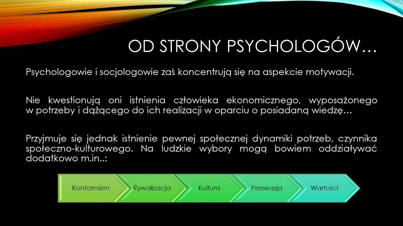 OD STRONY PSYCHOLOGÓW… Psychologowie i socjologowie zaś koncentrują się na aspekcie motywacji. Nie kwestionują oni istnienia człowieka ekonomicznego,