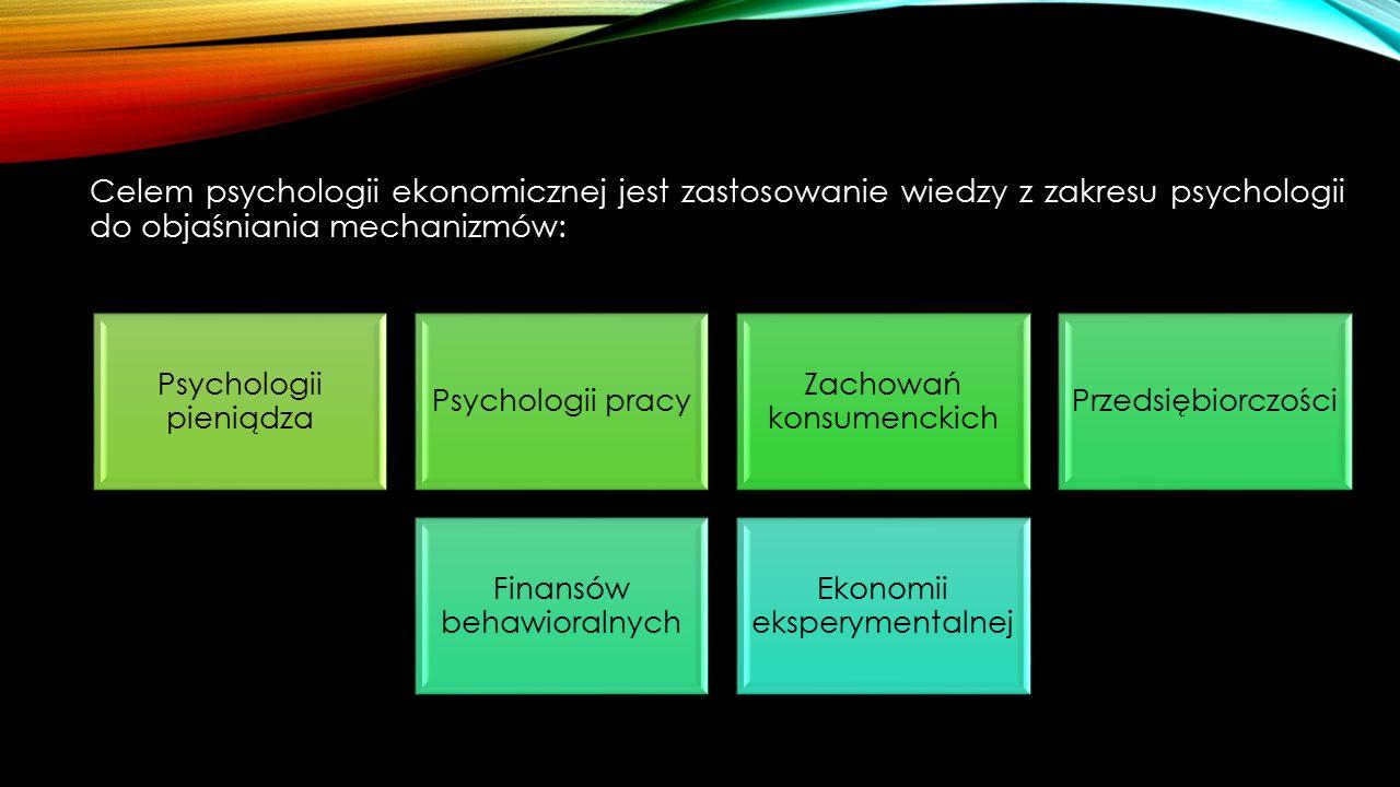 Celem psychologii ekonomicznej jest zastosowanie wiedzy z zakresu psychologii do objaśniania mechanizmów: Psychologii pieniądza Psychologii pracy Zachowań konsumenckich Przedsiębiorczości Finansów behawioralnych Ekonomii eksperymentalnej