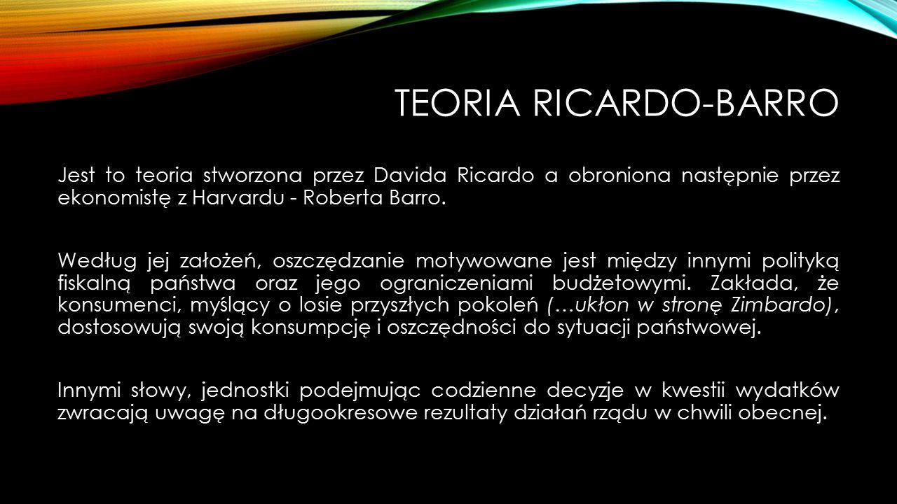TEORIA RICARDO-BARRO Jest to teoria stworzona przez Davida Ricardo a obroniona następnie przez ekonomistę z Harvardu - Roberta Barro. Według jej założ