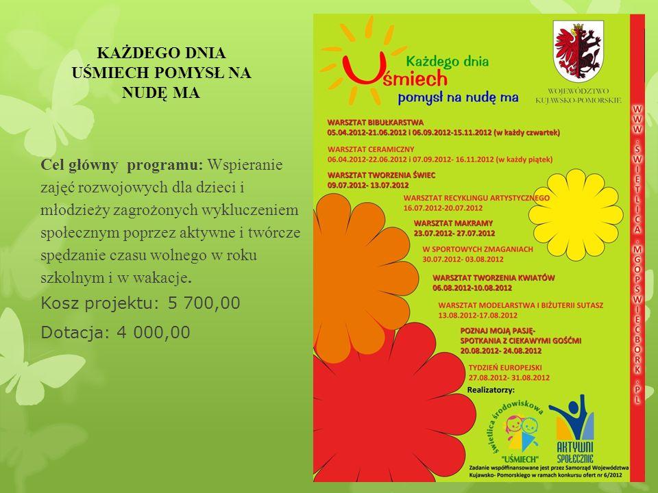 Cel główny programu: Wspieranie zajęć rozwojowych dla dzieci i młodzieży zagrożonych wykluczeniem społecznym poprzez aktywne i twórcze spędzanie czasu