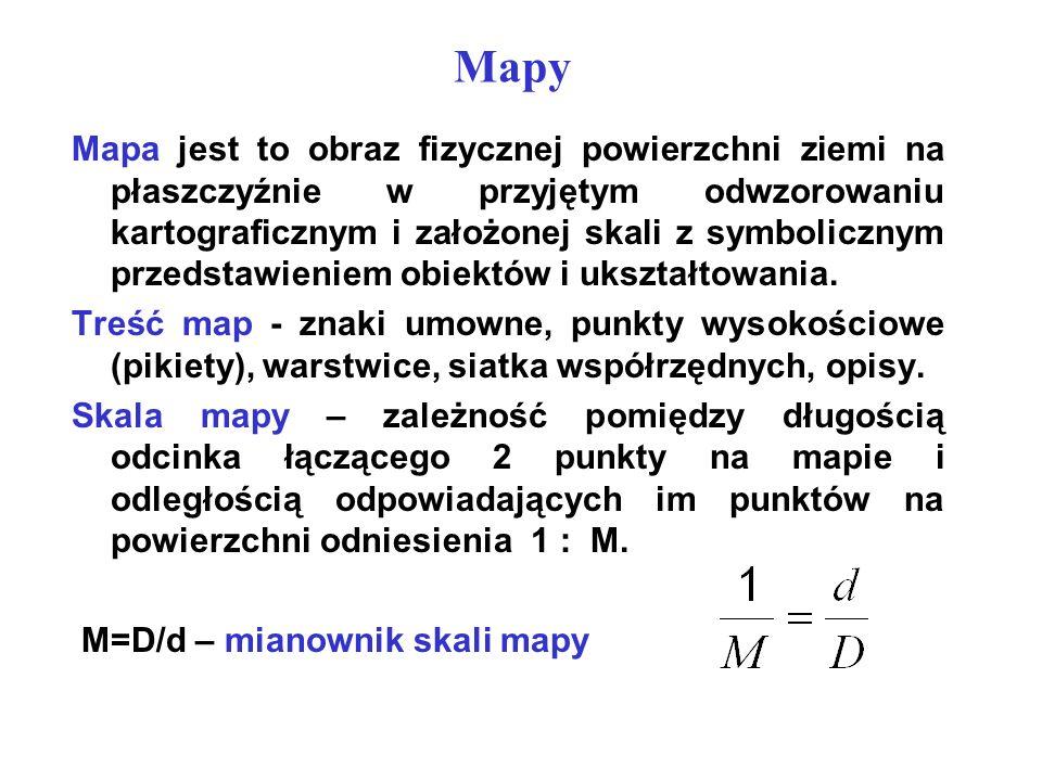 Mapy Mapa jest to obraz fizycznej powierzchni ziemi na płaszczyźnie w przyjętym odwzorowaniu kartograficznym i założonej skali z symbolicznym przedsta