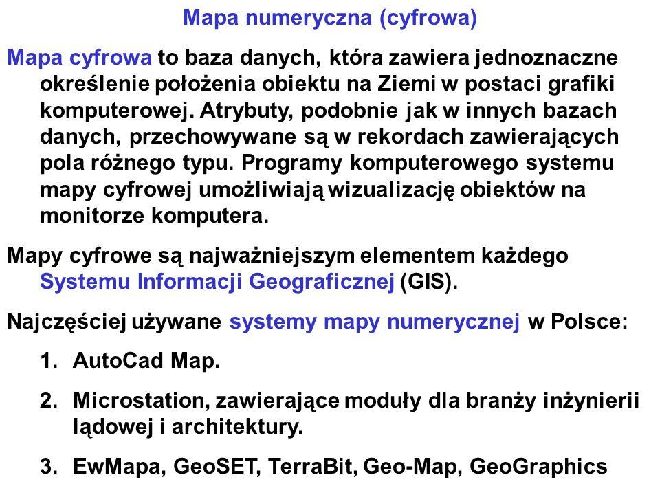 Mapa numeryczna (cyfrowa) Mapa cyfrowa to baza danych, która zawiera jednoznaczne określenie położenia obiektu na Ziemi w postaci grafiki komputerowej