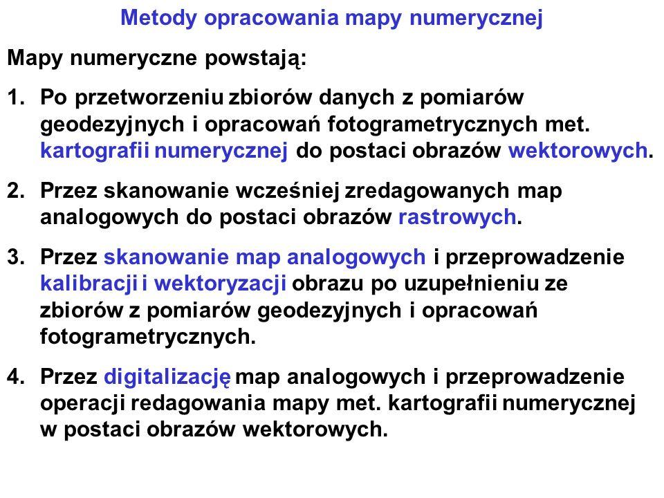 Metody opracowania mapy numerycznej Mapy numeryczne powstają: 1.Po przetworzeniu zbiorów danych z pomiarów geodezyjnych i opracowań fotogrametrycznych