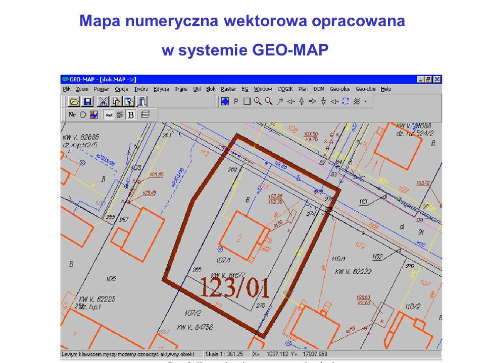 Mapa numeryczna wektorowa opracowana w systemie GEO-MAP