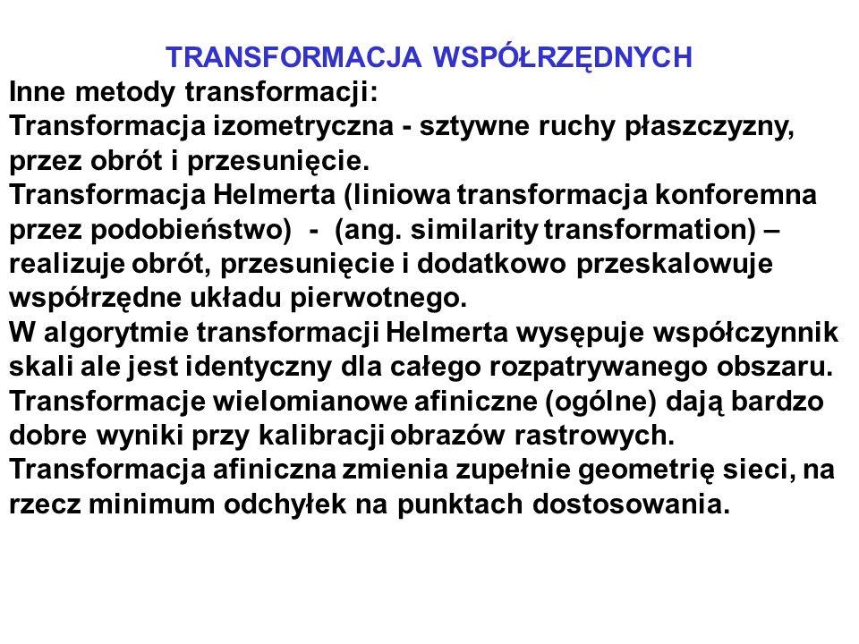 TRANSFORMACJA WSPÓŁRZĘDNYCH Inne metody transformacji: Transformacja izometryczna - sztywne ruchy płaszczyzny, przez obrót i przesunięcie. Transformac