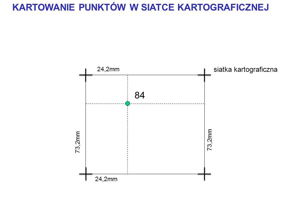 KARTOWANIE PUNKTÓW W SIATCE KARTOGRAFICZNEJ 84 73,2mm siatka kartograficzna 24,2mm 73,2mm 24,2mm
