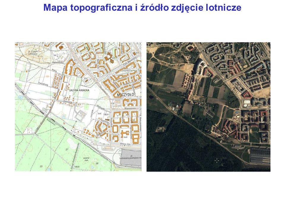 Mapa topograficzna i źródło zdjęcie lotnicze