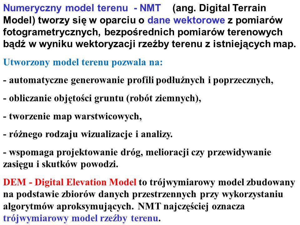 Numeryczny model terenu - NMT (ang. Digital Terrain Model) tworzy się w oparciu o dane wektorowe z pomiarów fotogrametrycznych, bezpośrednich pomiarów