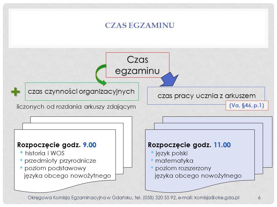 CZYNNOŚCI ORGANIZACYJNE WYKONYWANE PRZEZ ZDAJĄCYCH PO ZAKOŃCZENIU EGZAMINU Z ARKUSZEM STANDARDOWYM Okręgowa Komisja Egzaminacyjna w Gdańsku, tel.