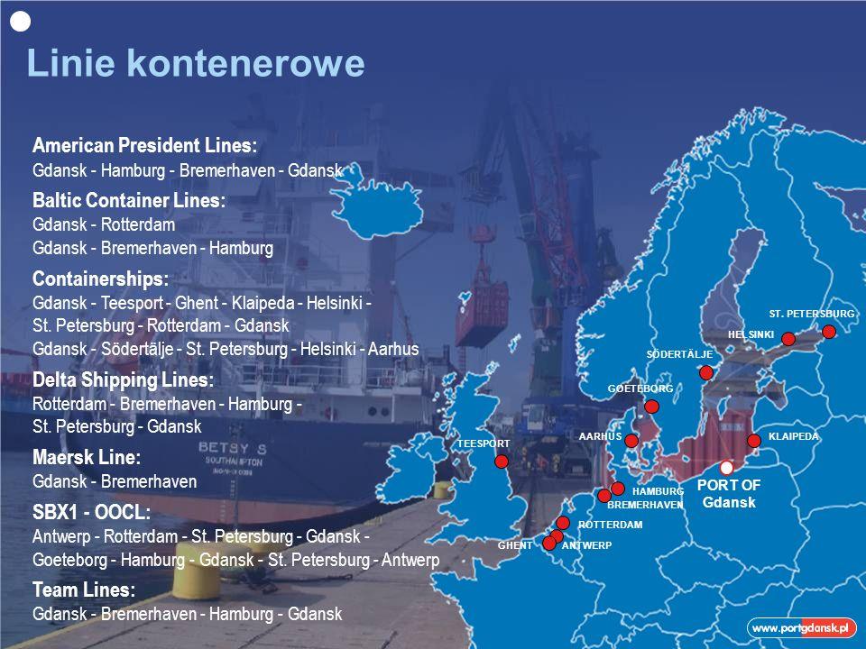 PORT OF Gdansk American President Lines: Gdansk - Hamburg - Bremerhaven - Gdansk Baltic Container Lines: Gdansk - Rotterdam Gdansk - Bremerhaven - Hamburg Containerships: Gdansk - Teesport - Ghent - Klaipeda - Helsinki - St.