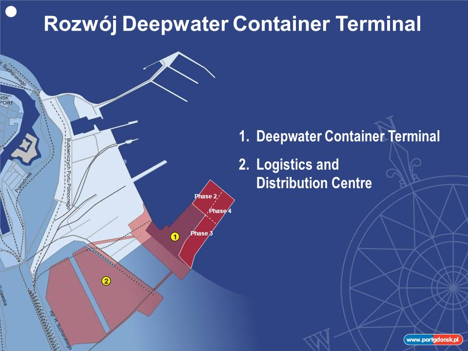 1.Deepwater Container Terminal 2.Logistics and Distribution Centre Phase 2 Phase 3 Phase 4 Rozwój Deepwater Container Terminal