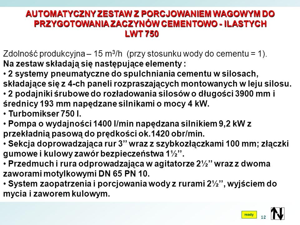 AUTOMATYCZNY ZESTAW Z PORCJOWANIEM WAGOWYM DO PRZYGOTOWANIA ZACZYNÓW CEMENTOWO - ILASTYCH LWT 750 LWT 750 Zdolność produkcyjna – 15 m 3 /h (przy stosunku wody do cementu = 1).