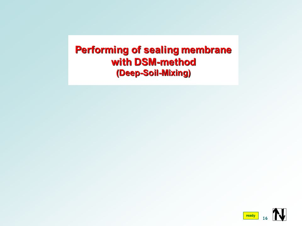 Performing of sealing membrane with DSM-method (Deep-Soil-Mixing) ready 16