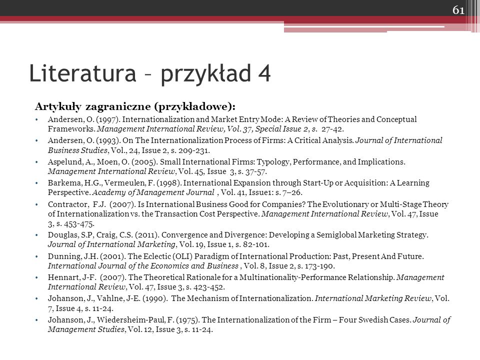 Artykuły zagraniczne (przykładowe): Andersen, O. (1997). Internationalization and Market Entry Mode: A Review of Theories and Conceptual Frameworks. M