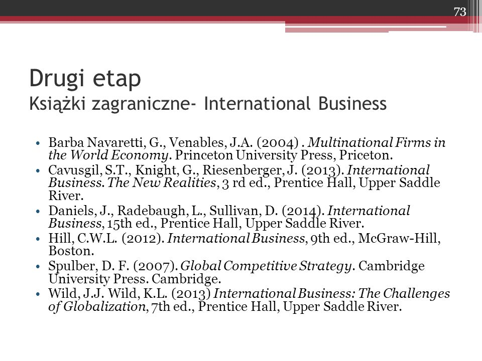 Drugi etap Książki zagraniczne- International Business Barba Navaretti, G., Venables, J.A. (2004). Multinational Firms in the World Economy. Princeton