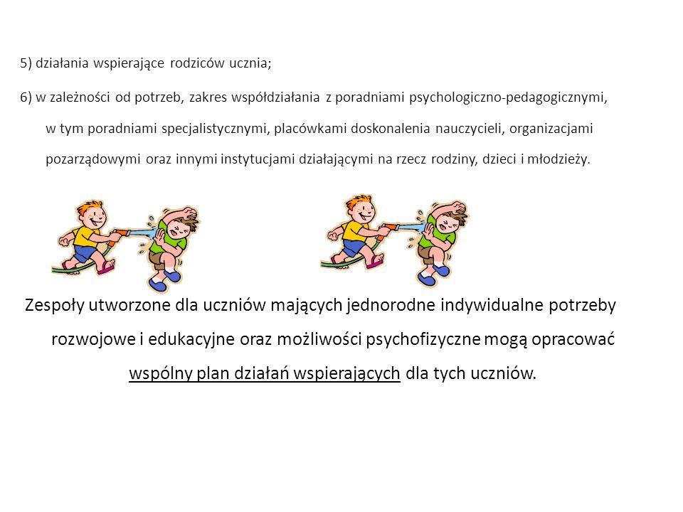 5) działania wspierające rodziców ucznia; 6) w zależności od potrzeb, zakres współdziałania z poradniami psychologiczno-pedagogicznymi, w tym poradniami specjalistycznymi, placówkami doskonalenia nauczycieli, organizacjami pozarządowymi oraz innymi instytucjami działającymi na rzecz rodziny, dzieci i młodzieży.