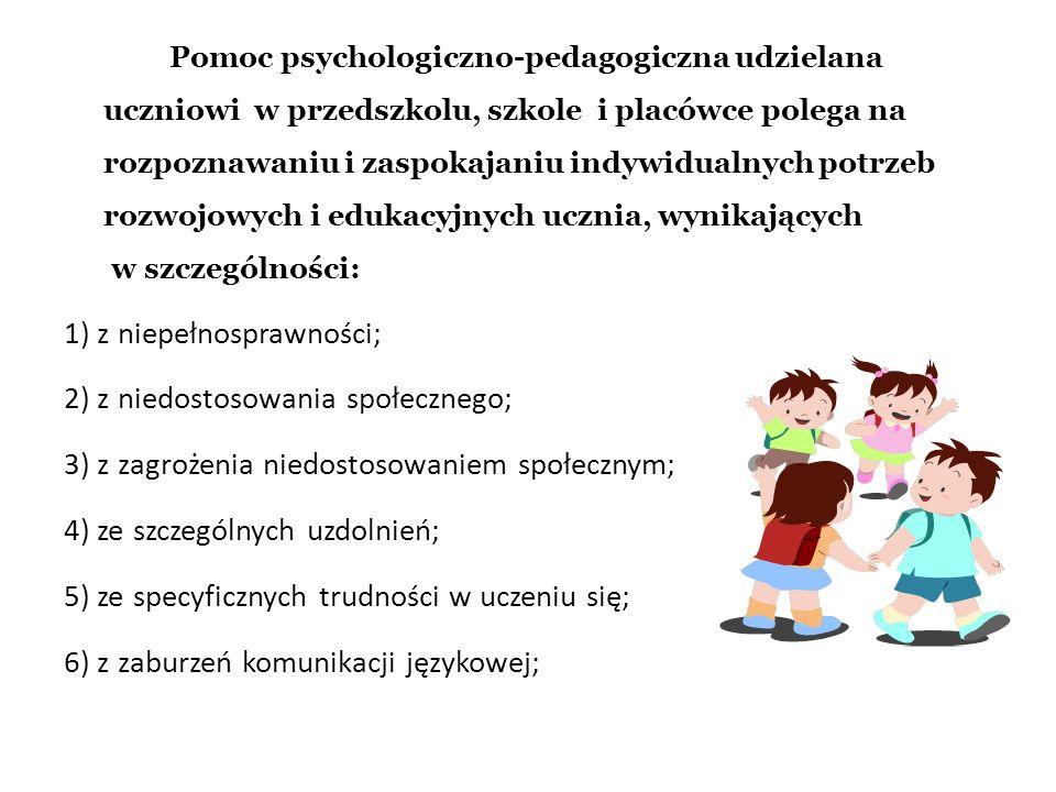 7) z choroby przewlekłej; 8) z sytuacji kryzysowych lub traumatycznych; 9) z niepowodzeń edukacyjnych; 10) z zaniedbań środowiskowych związanych z sytuacją bytową ucznia i jego rodziny, sposobem spędzania czasu wolnego, kontaktami środowiskowymi; 11) z trudności adaptacyjnych związanych z różnicami kulturowymi lub ze zmianą środowiska edukacyjnego, w tym związanych z wcześniejszym kształceniem za granicą.
