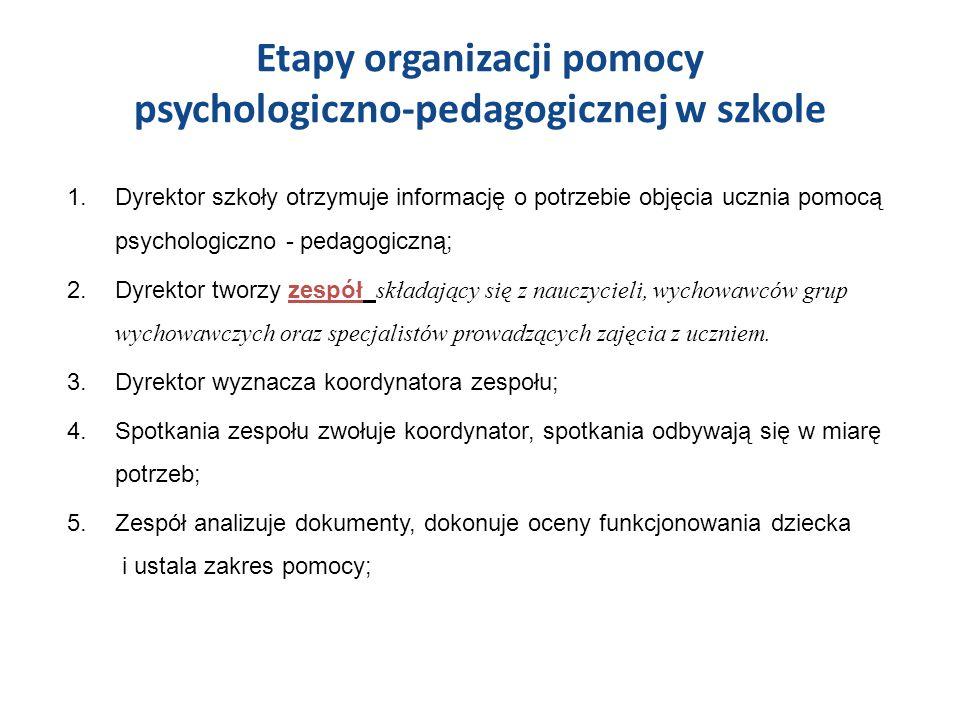 Etapy organizacji pomocy psychologiczno-pedagogicznej w szkole 1.Dyrektor szkoły otrzymuje informację o potrzebie objęcia ucznia pomocą psychologiczno - pedagogiczną; 2.Dyrektor tworzy zespół składający się z nauczycieli, wychowawców grup wychowawczych oraz specjalistów prowadzących zajęcia z uczniem.