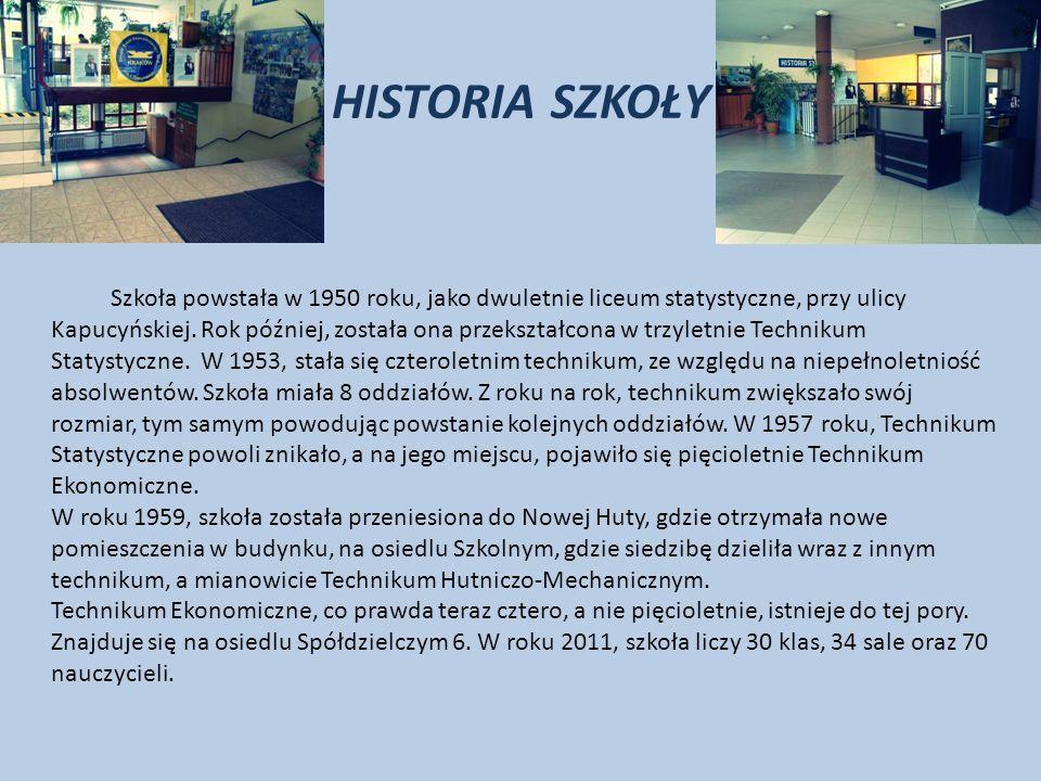 HISTORIA SZKOŁY Szkoła powstała w 1950 roku, jako dwuletnie liceum statystyczne, przy ulicy Kapucyńskiej.