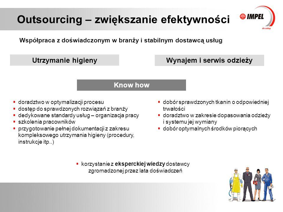 Outsourcing – zwiększanie efektywności Współpraca z doświadczonym w branży i stabilnym dostawcą usług Technologia  własne pralnie na terenie Polski  optymalny dobór środków piorących  rozwinięta sieć logistyczna zapewniająca dostarczenie odzieży na czas  zarządzanie infrastrukturą poprzez:  przeniesienie na dostawcę kosztów pozyskania nowoczesnych technologii (pieniądz, czas, zasoby)  wdrażanie sprawdzonych technologii  inwestowanie w maszyny i urządzenia, w celu zwiększania wydajności procesu mycia Utrzymanie higieny Wynajem i serwis odzieży