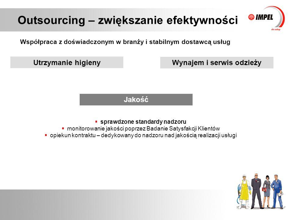 Outsourcing – zwiększanie efektywności Współpraca z doświadczonym w branży i stabilnym dostawcą usług Jakość  sprawdzone standardy nadzoru  monitoro