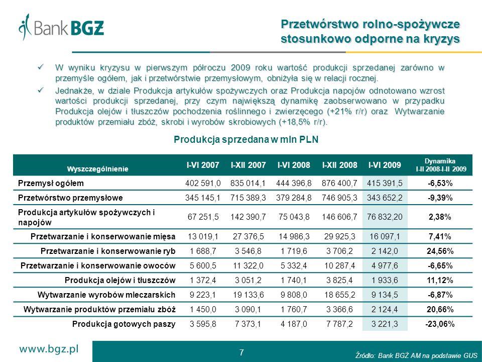 7 Produkcja sprzedana w mln PLN Przetwórstwo rolno-spożywcze stosunkowo odporne na kryzys W wyniku kryzysu w pierwszym półroczu 2009 roku wartość produkcji sprzedanej zarówno w przemyśle ogółem, jak i przetwórstwie przemysłowym, obniżyła się w relacji rocznej.