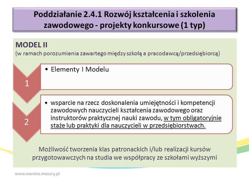 Poddziałanie 2.4.1 Rozwój kształcenia i szkolenia zawodowego - projekty konkursowe (1 typ) MODEL II (w ramach porozumienia zawartego między szkołą a p